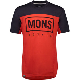 Mons Royale Redwood Enduro V-Neck T-Shirt Men bright red/9 iron